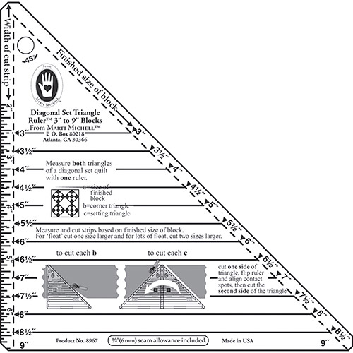Marti Michell Small Diagonal Set Triangle Ruler