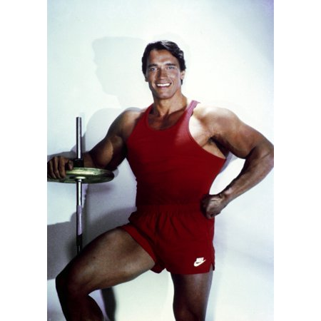 Arnold Schwarzenegger posed in Red Gym Outfit Photo