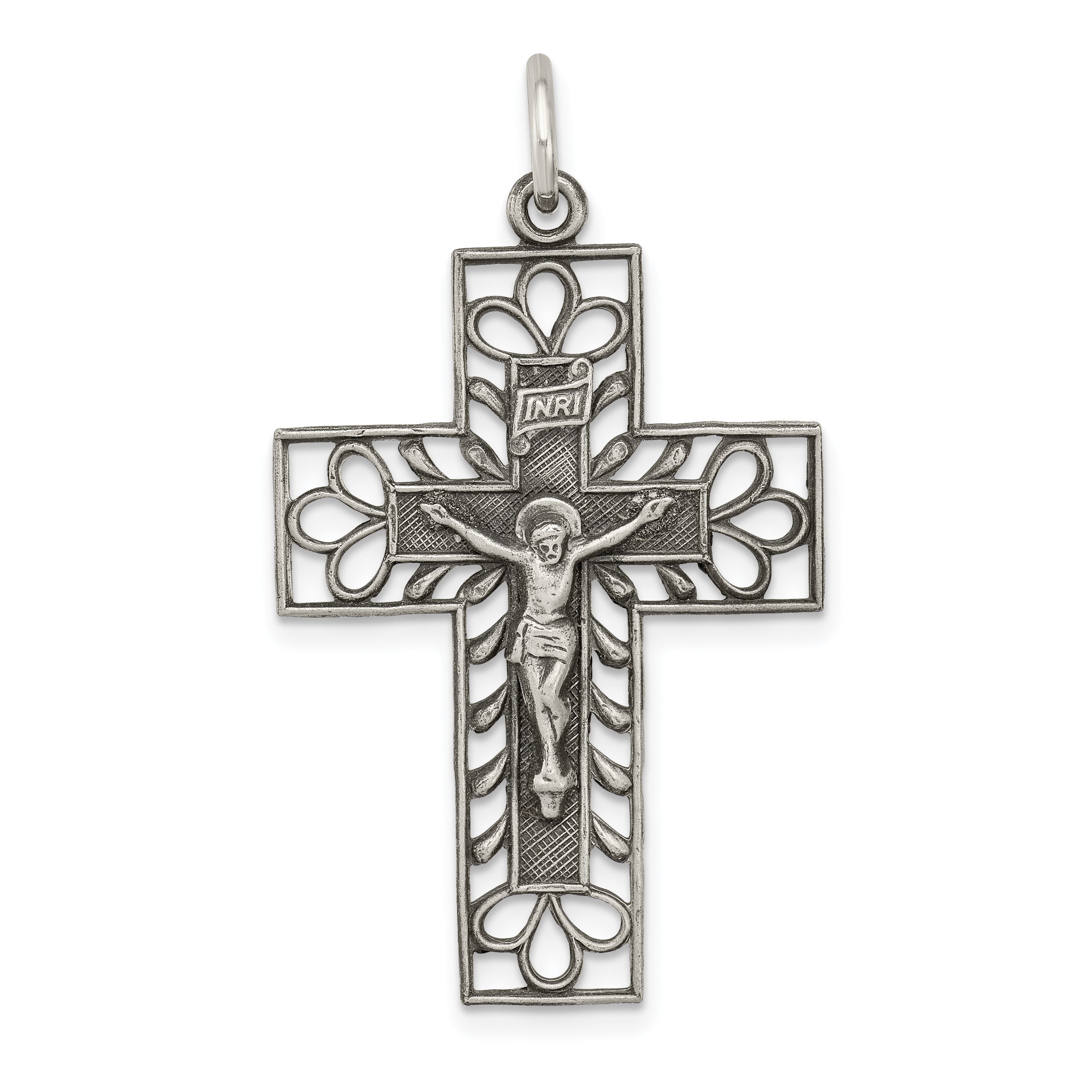 Sterling Silver Antiqued Brushed INRI Crucifix Pendant Solid Pendants /& Charms Jewelry
