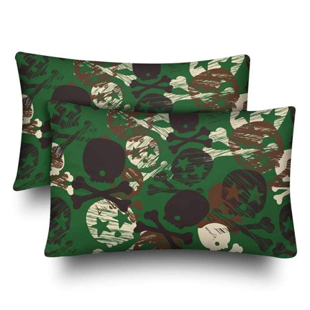 GCKG Seamless Camouflage Star Skull Print Pillow Cases Pillowcase 20x30 inches Set of 2 - image 4 of 4