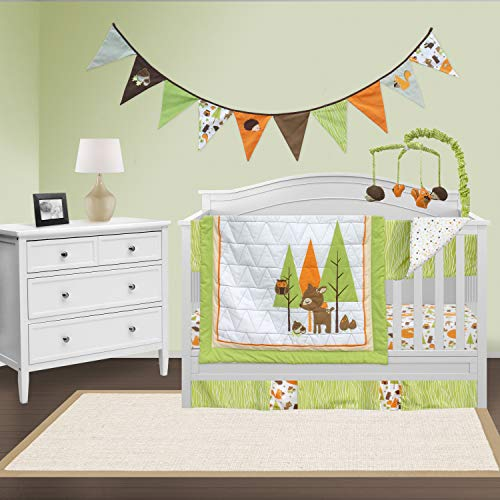 Pam Grace Creations Charming Woodland Forest 6 Piece Crib Bedding Nursery Set Brown Tan Orange