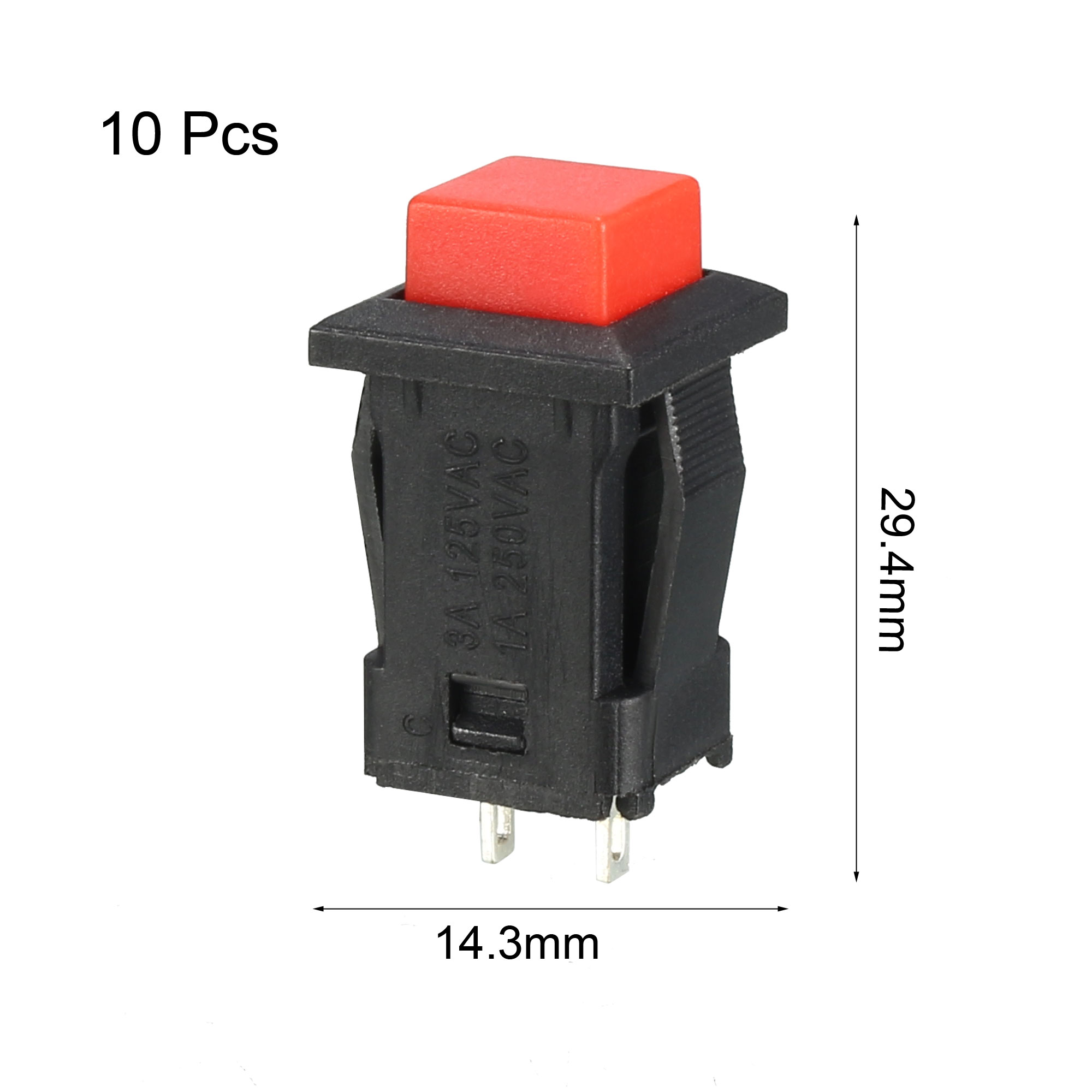 12mm Mounting Hole Red Square Latching Push Button Switch SPST NO 10pcs - image 3 of 4