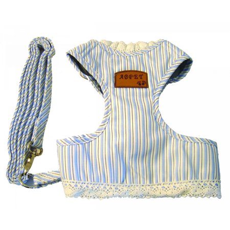 Blue Stripe Pet Cloth With A Leash  Collar 7    Belly Lenth 7 5    Adjust Belly 6     12     Fit For Smaller Size Pet  Product Size  7 87 X 12 99 X1