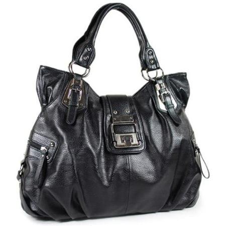 Pleated Handbag (Texas Leather 500747BK Pleated On Bottom & Sides Website Special Hand Bag, Black )