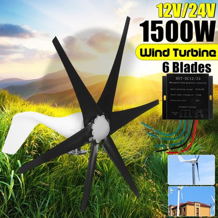 1500W Wind Turbine Generator DC 12V/24V 6 Black Blades Windmill Strong Power Powered Controller Electric Aerogenerator Green Energy