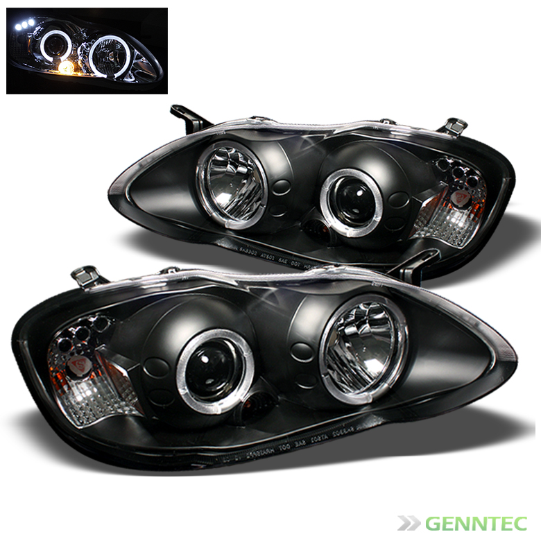2003-2008 Toyota Corolla Twin Halo LED Headlights Black Head Lights Pair Left+Right 2004 2005 2006 2007