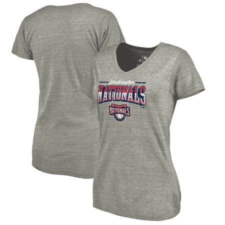 Washington Nationals Ticket (Washington Nationals Fanatics Branded Women's Cooperstown Collection Season Ticket Tri-Blend V-Neck T-Shirt - Heathered)