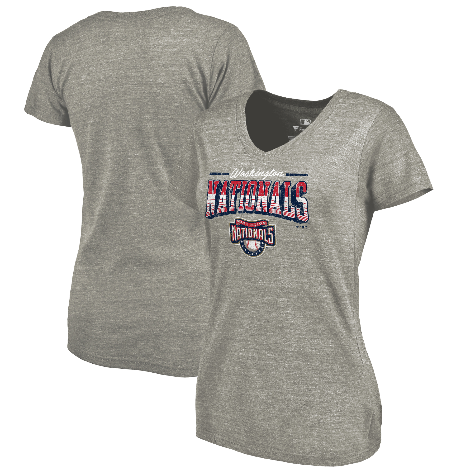 Washington Nationals Fanatics Branded Women's Cooperstown Collection Season Ticket Tri-Blend V-Neck T-Shirt - Heathered Gray