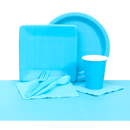 Plastic Solid Tableware Set, Bermuda Blue