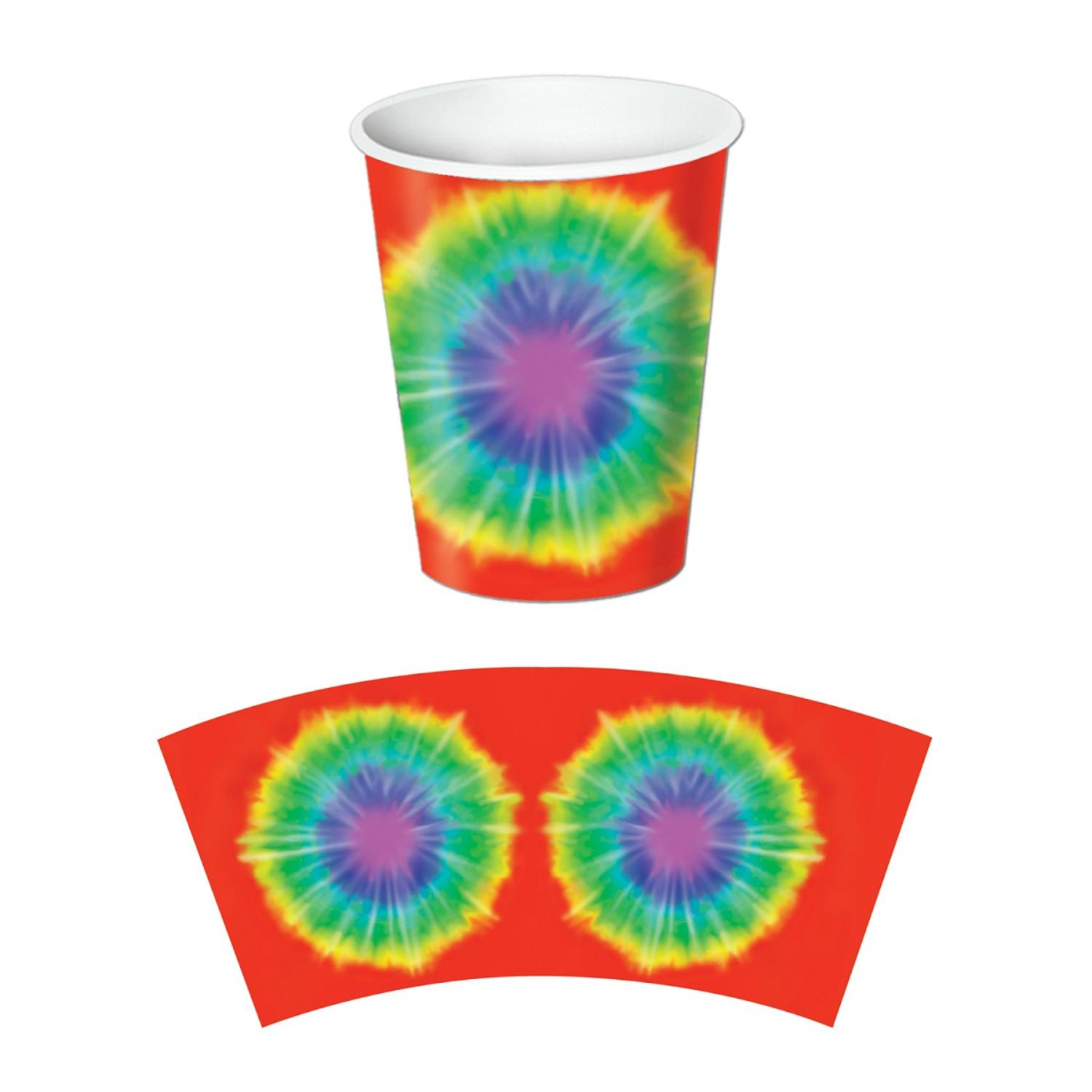 Club Pack of 96 Tie-Dyed Disposable Paper Hot and Cold Beverage Cups 9 oz.