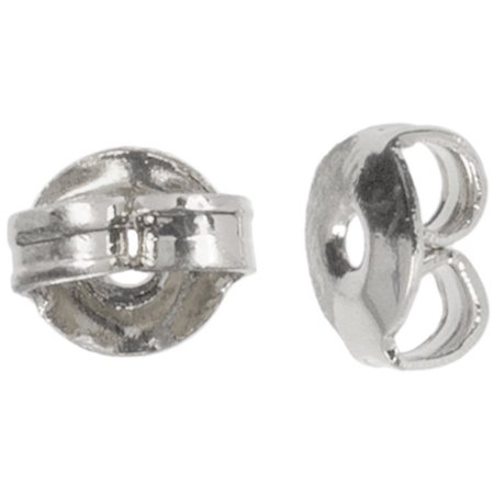 Plated Silver Metal Findings Earring Nut, 5mm, 30pk