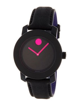 Movado NEW WOMEN'S (3600482) BOLD BLACK LEATHER STRAP PINK ACCENT WATCH