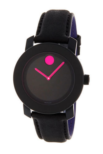NEW WOMEN'S (3600482) BOLD BLACK LEATHER STRAP PINK ACCENT WATCH