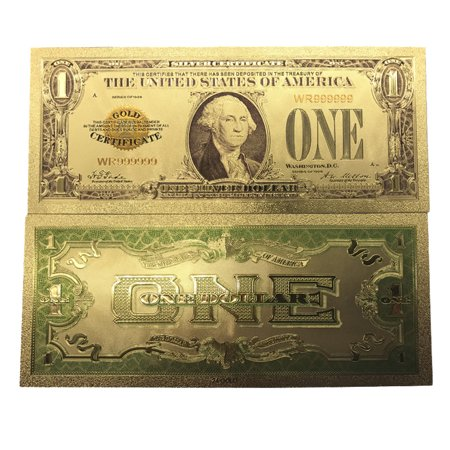 Premium Replica 1 Dollar Paper Money Bill 24k Gold Plated Fake Currency Banknote Art Commemorative Collectible Holiday Decoration ()