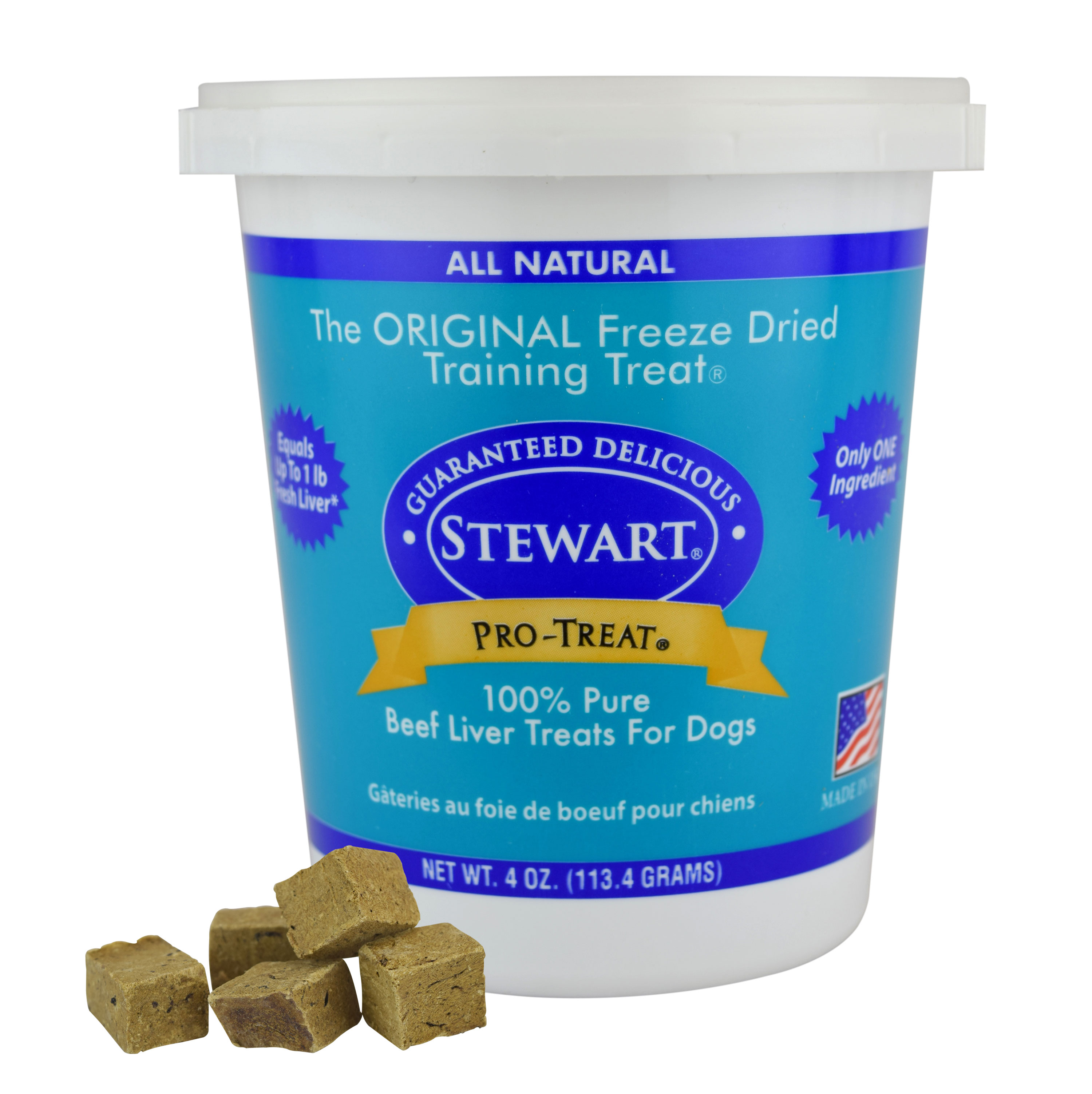 Stewart Freeze Dried Beef Liver Dog Treats by Pro-Treat 4 oz. Tub