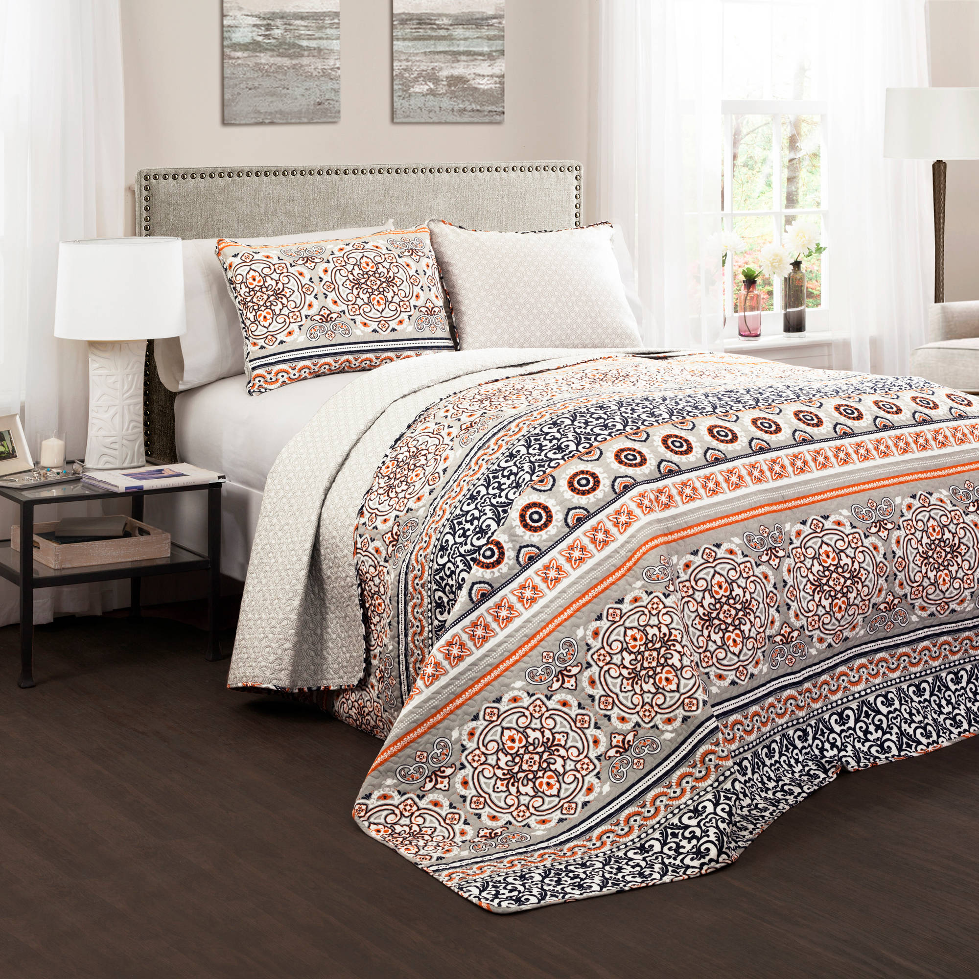 Nesco Quilt Navy Coral 3 Piece Set King Walmart