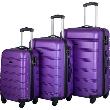 3 Piece Luggage Set Hardside Spinner Hardshell Suitcase with TSA Lock 4-Wheel Upright Luggage for 360 Degree Movement (20/24/28), Purple