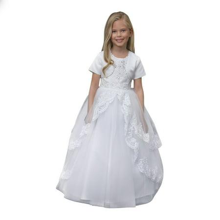 Angels Garment Little Girls White Satin Lace Heart Cut-Out Communion Dress 6