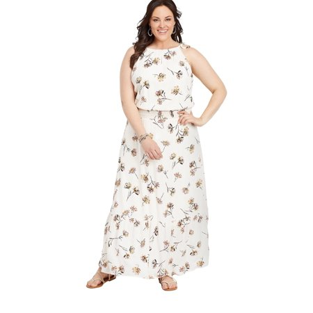 maurices Floral Print Maxi Dress - Women's Plus Size Smocked Waist