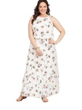 c36a747fc2bc5b Product Image Plus Size Floral Print Smocked Waist Maxi Dress