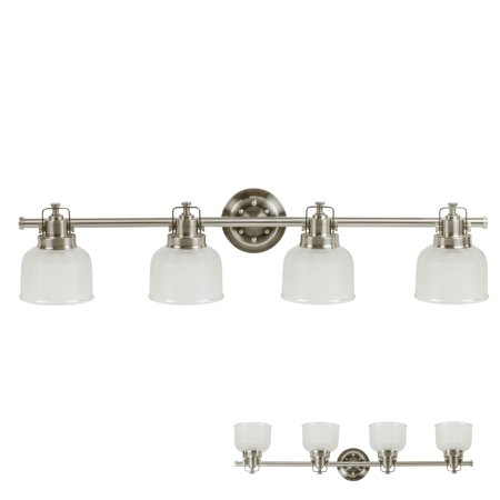 Satin Nickel Vanity Light 4 Bulb Bath Wall Fixture Clear Double Prismatic Glass Globes