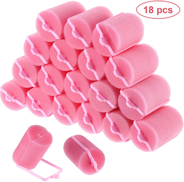 18 Pieces Foam Sponge Hair Rollers Flexible Hair Styling ...