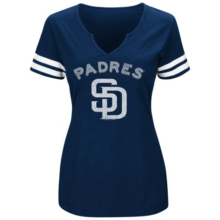 Women's Majestic Navy/White San Diego Padres Decisive Moment V-Notch T-Shirt