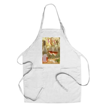 Rose Wine - Lantern Press Photography (Cotton/Polyester Chef's (Best Way To Press A Rose)