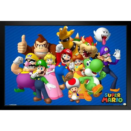 Super Mario Bros Nintendo Video Game Group Characters Mario Luigi Framed Poster 18X12 Inch