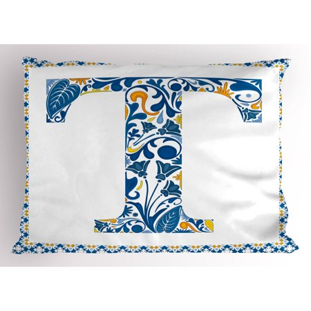 Letter T Pillow Sham Ornate Retro Portuguese Art Flowery Borders and T Silhouette with Leaves, Decorative Standard Size Printed Pillowcase, 26 X 20 Inches, Blue Yellow Orange, by Ambesonne