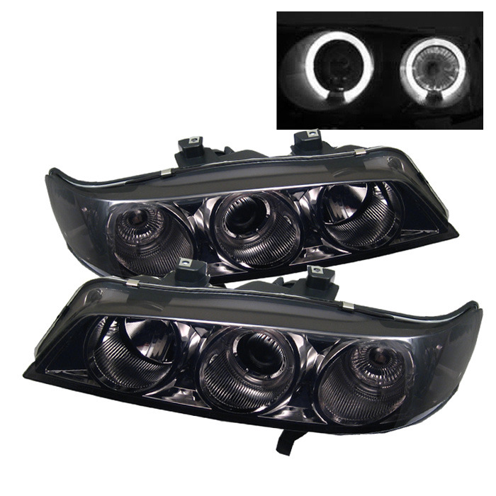 Spyder Honda Accord 94-97 1PC Projector Headlights - LED Halo - Amber Reflector - Smoke - High H1 (Included) - Low H1 (Included)
