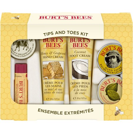 Burts Bees Hand Sanitizer (Burt's Bees Tips and Toes Kit Gift Set, 6 Travel Size Products in Gift Box - 2 Hand Creams, Foot Cream, Cuticle Cream, Hand Salve and Lip Balm )
