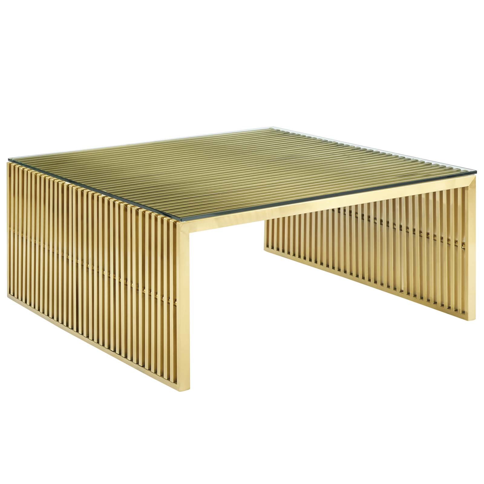 Modway Gridiron Stainless Steel Coffee Table in Gold