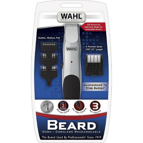 WAHL Beard Trimmer, Cord or Cordless with Self Sharpening Steel Blades, Model 9918-6171