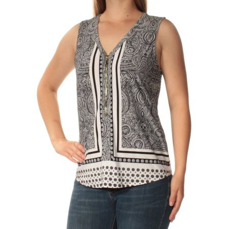 INC Womens Black Printed Sleeveless Zip Neck Top  Size: XL