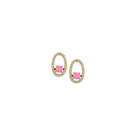 Dancing Diamonds Earrings with Created Pink Sapphire and CZ in 14K Yellow Gold - image 2 de 2