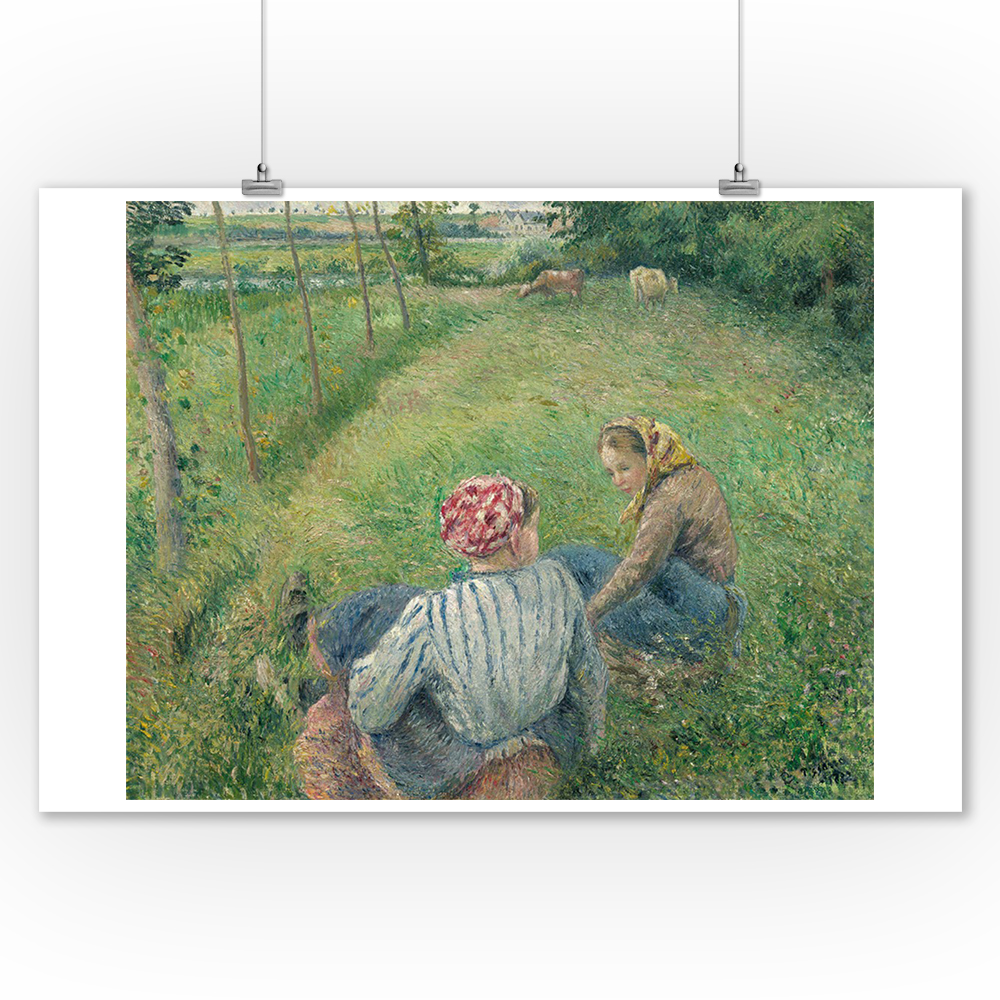 Young Peasant Girls Resting in the Fields - Masterpiece Classic - Artist: Camille Pissarro c. 1882 (9x12 Art Print, Wall Decor Travel Poster)
