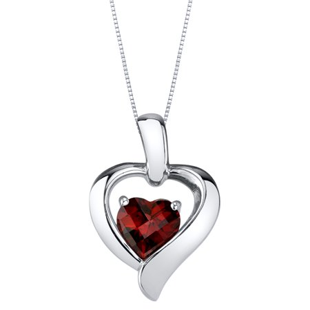 1 ct Heart Shape Red Garnet Pendant Necklace in Sterling Silver, 18