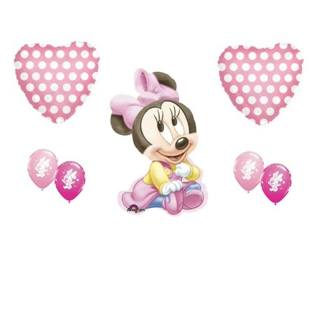 Party Themes For Baby Girl First Birthday (Baby Minnie Mouse It's A Girl Baby Shower Balloons 1st Birthday)