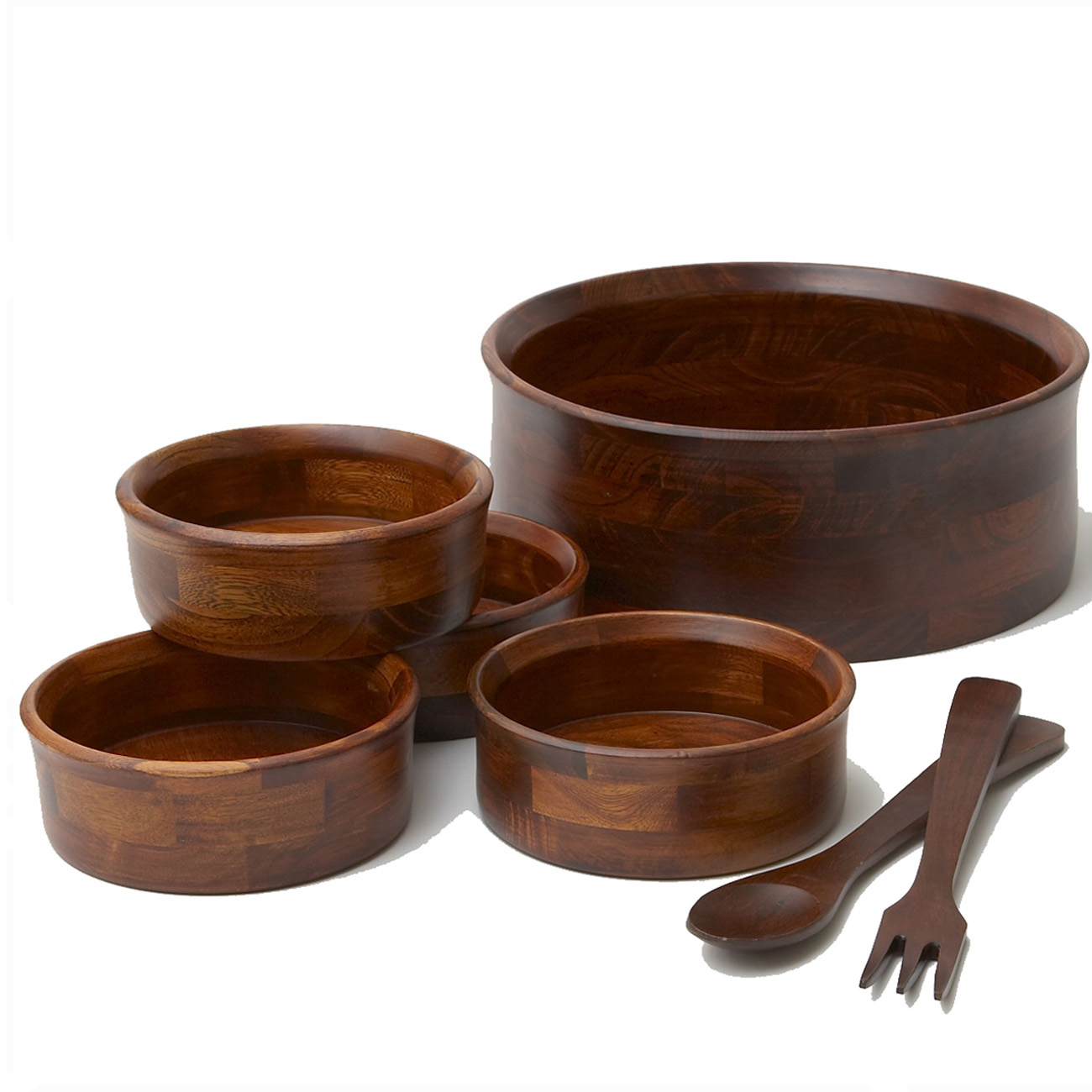 7 Piece Wood Salad Bowl Set by Woodard & Charles by