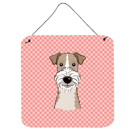 Checkerboard Pink Wire Haired Fox Terrier Wall or Door Hanging Prints BB1247DS66
