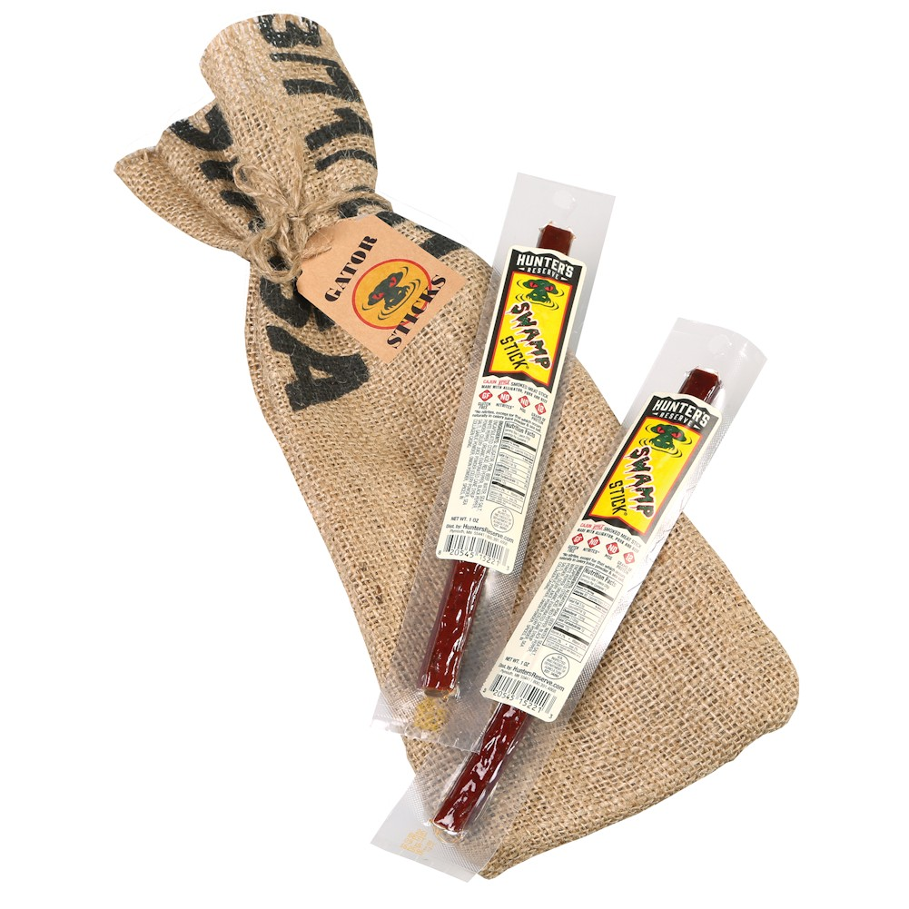 Alligator & Pork Jerky Sticks Swamp Sticks Gift Set Eight Pieces by