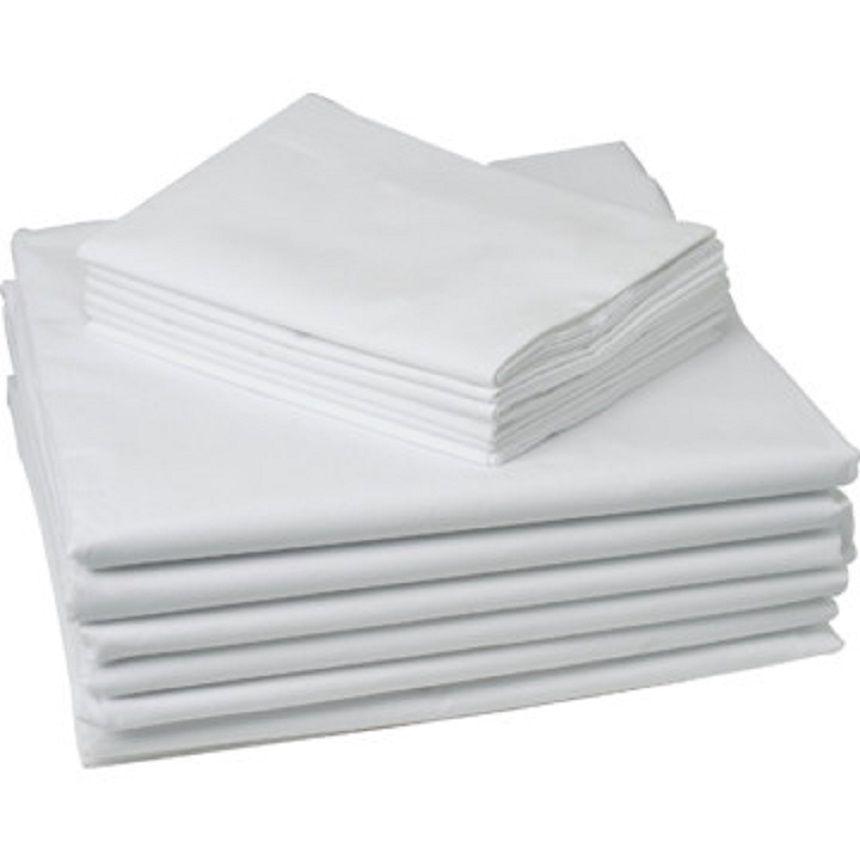 """GHP 6-Pcs White King Size 20""""x40"""" Cotton Blend Percale Pr..."""