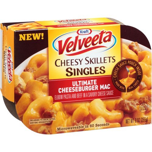 Kraft Velveeta Cheesy Skillets Singles Ultimate Cheeseburger Mac, 9 oz