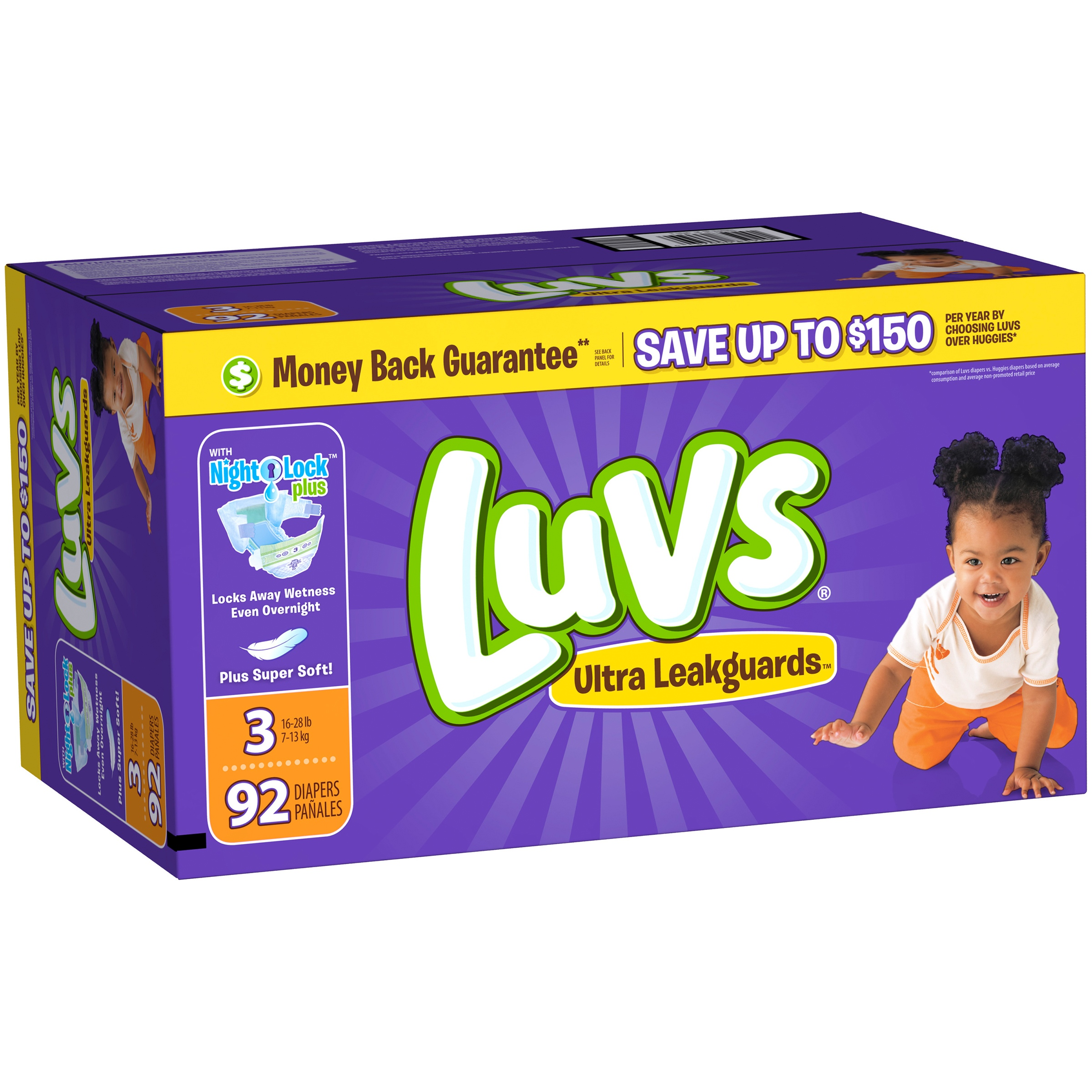 Luvs Ultra Leakguards Diapers, Size 3, 92 Diapers