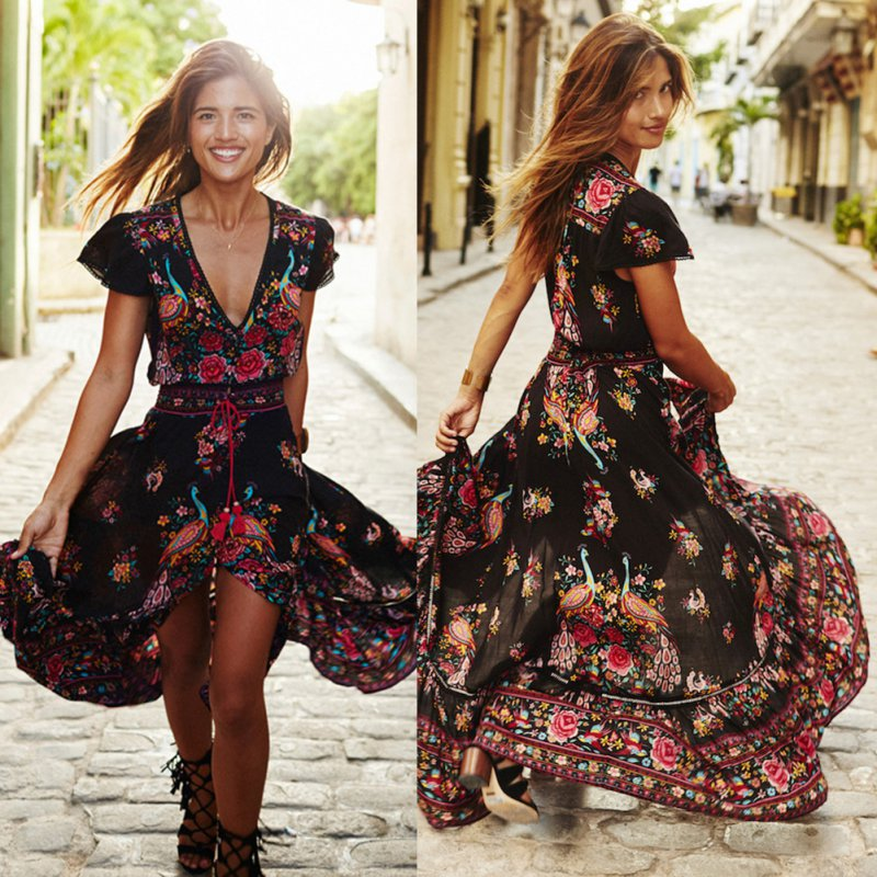 Beauty Women Floral Sundress Boho Long Maxi Evening Party Summer Beach Dress by