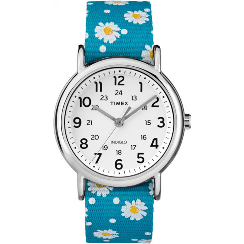 Timex Women's Weekender Watch, Blue Floral Reversible Nylon Slip-Thru Strap by Timex
