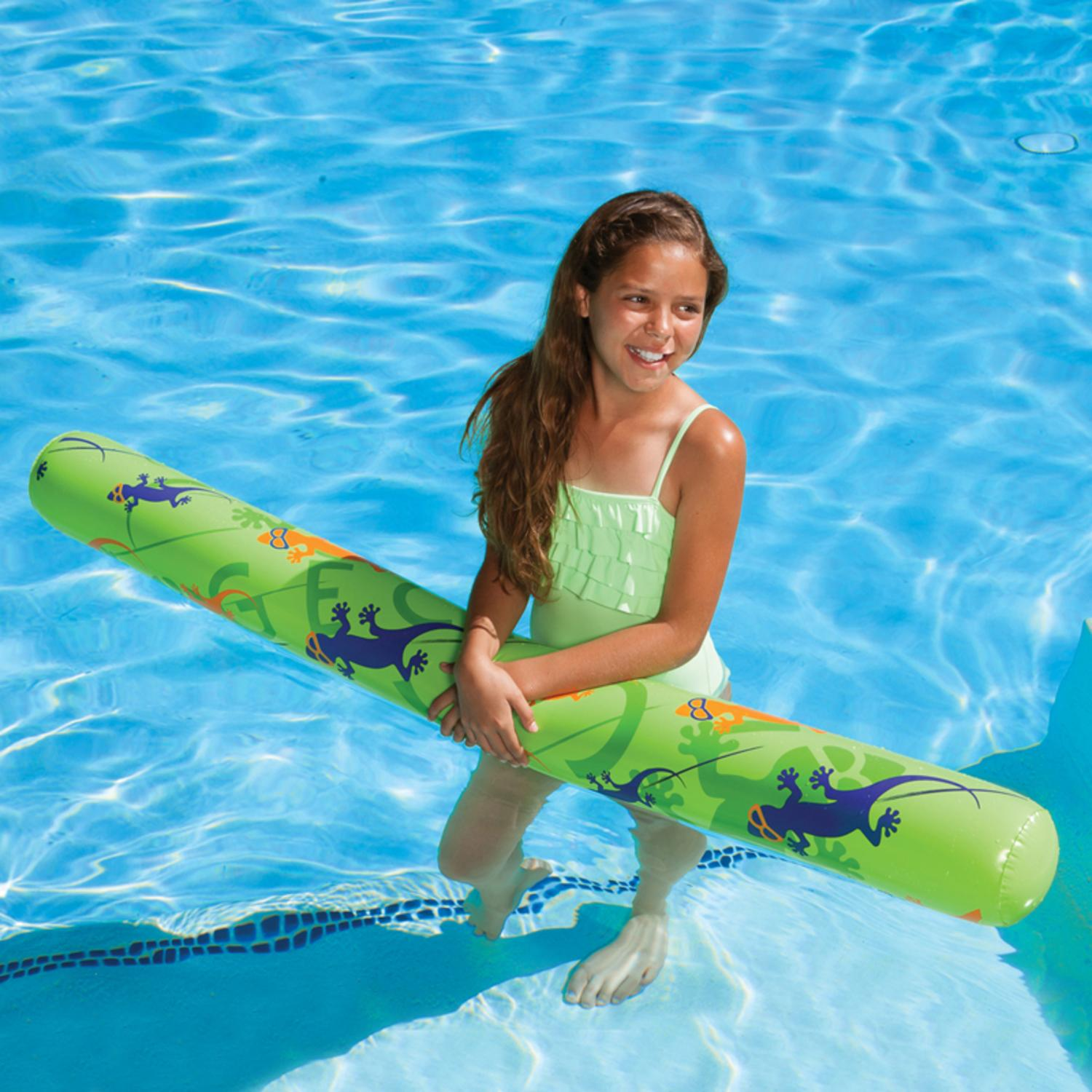"60"" Green, Purple and Orange Inflatable Gecko Hawaii Swimming Pool Fun Noodle Float"