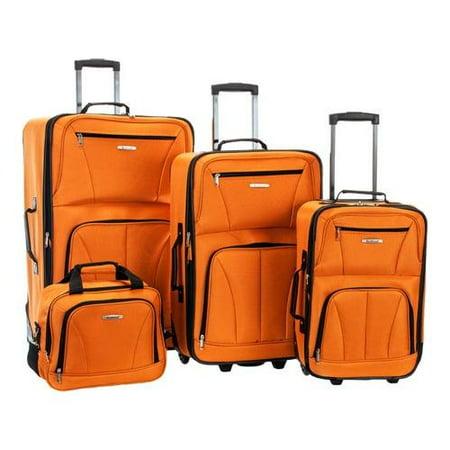 Rockland 4 Piece Luggage Set F32  18u0022 x 11u0022 x 28u0022; 24u0022 x 16u0022 x 10u0022; 19u0022 x 13u0022 x 8u0022; 12u0022 x 11u0022 x 5.5u0022