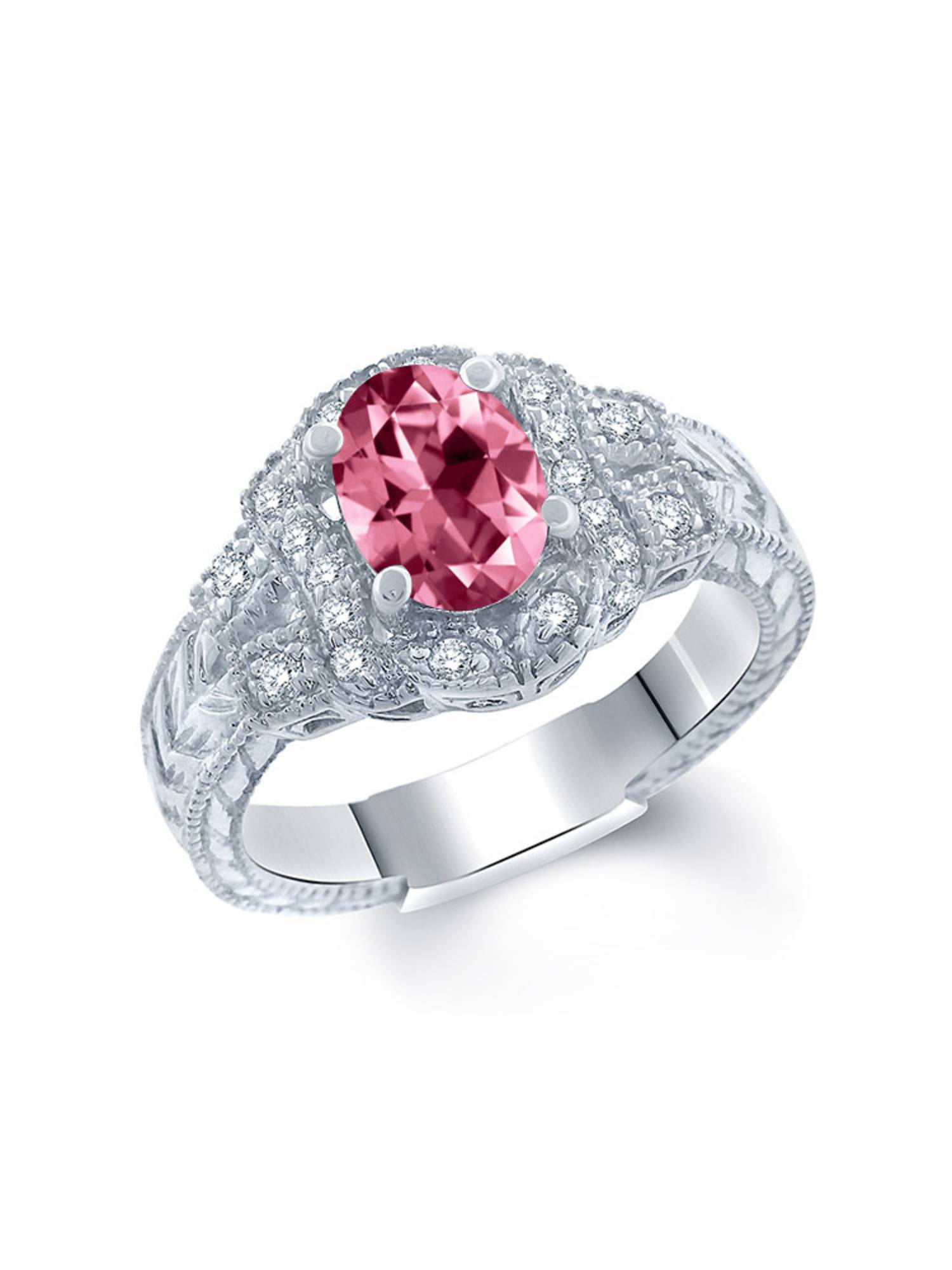 925 Sterling Silver Ring Set with Oval Pink Topaz from Swarovski by